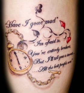 Quote watch and quote tattoo on leg