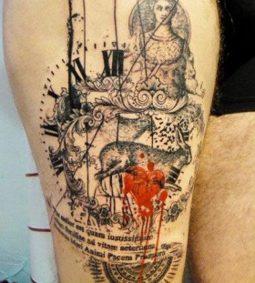 Rabbit and clock tattoo by Xoil