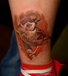 Realistic adorable bird tattoo by Dimitry Samohin