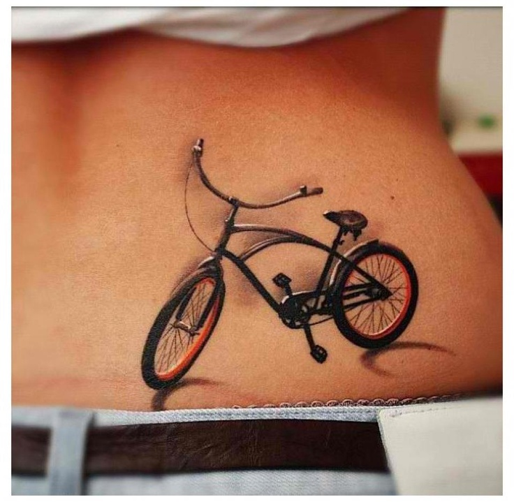 Realistic bicycle tattoo