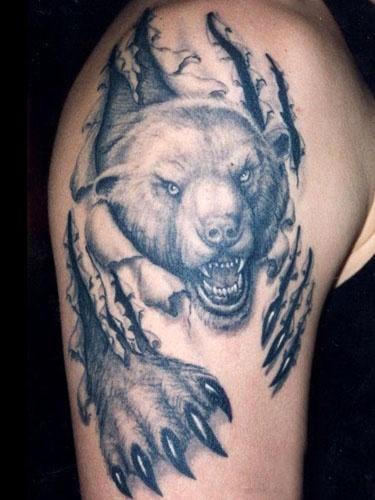 Realistic black bear tattoo on arm