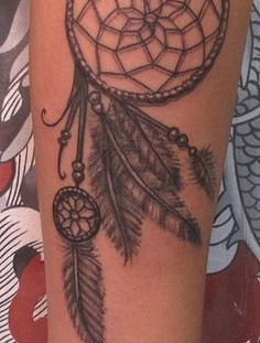 Realistic dream catcher tattoo