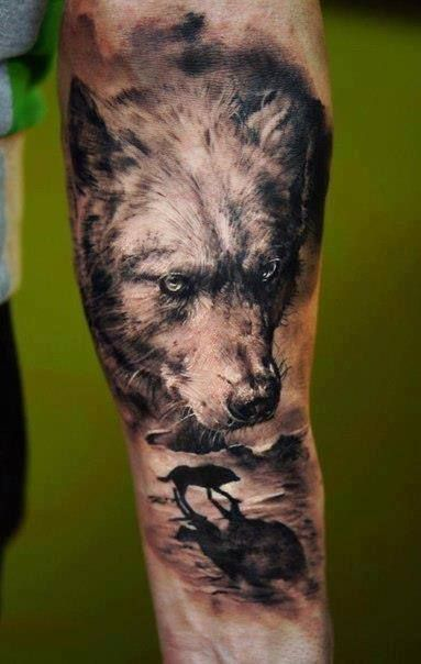 Realistic lovely wolf tattoo on arm