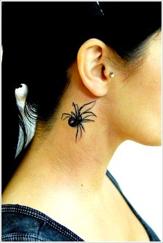 Realistic spider tattoo on neck