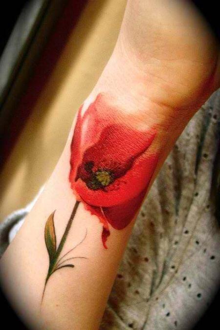 Realistic tulip tattoo on arm