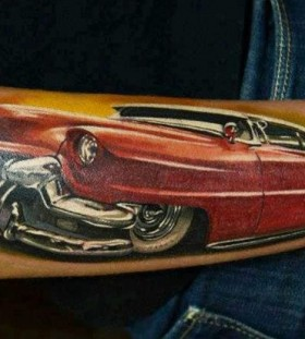 Red amazing car tattoo on arm