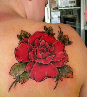 Red amazing rose tattoo on shoulder