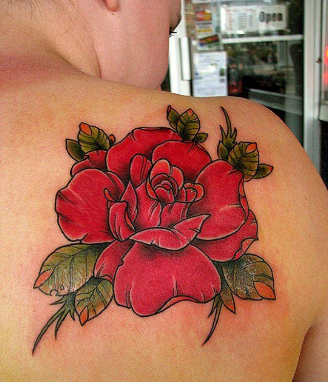 Red amazing rose tattoo on shoulder - | TattooMagz › Tattoo Designs / Ink Works / Body Arts Gallery