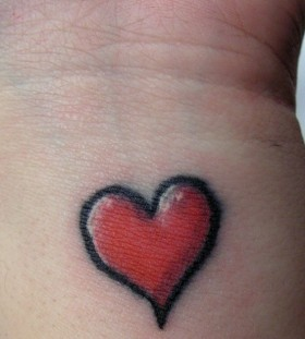 Red cute heart tattoo