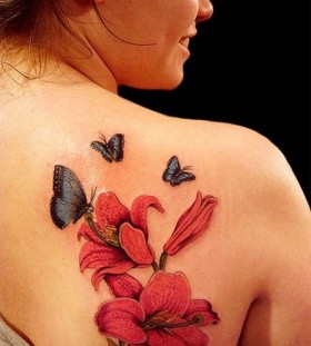 Red flower and blue with red butterfly tattooo