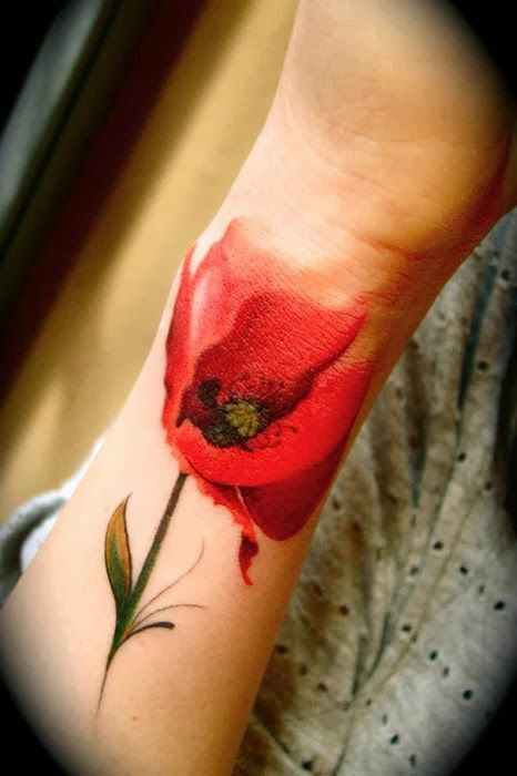 Red flower watercolor tattoo