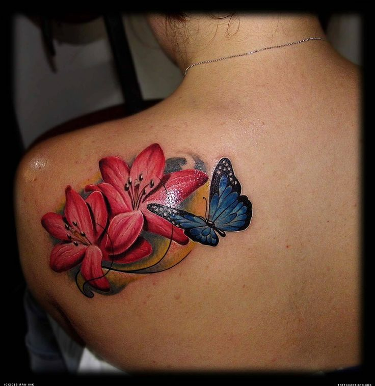 bf06b55e148dd Red flowers and butterfly tattoo on shoulder - | TattooMagz › Tattoo ...