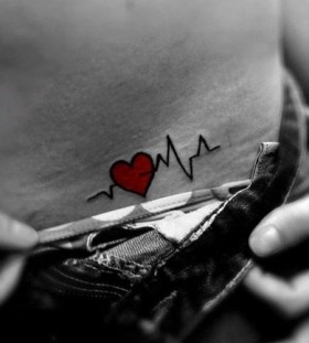 Red heart interesting design tattoo