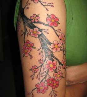 Red lovely cherry tattoo on arm