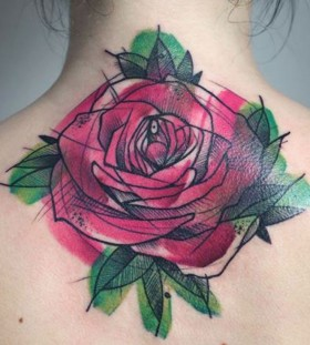 Red lovely rose tattoo on arm