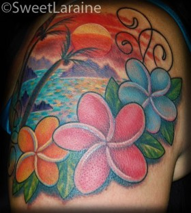 Red, pink, blue hawaiian style tattoo