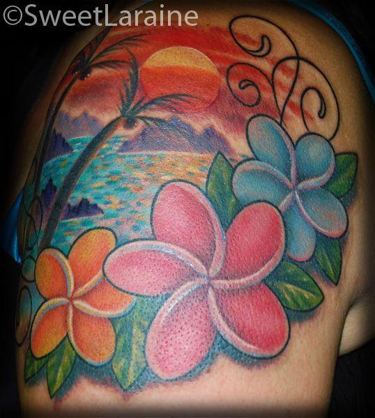 Red, pink, blue hawaiian style tattoo