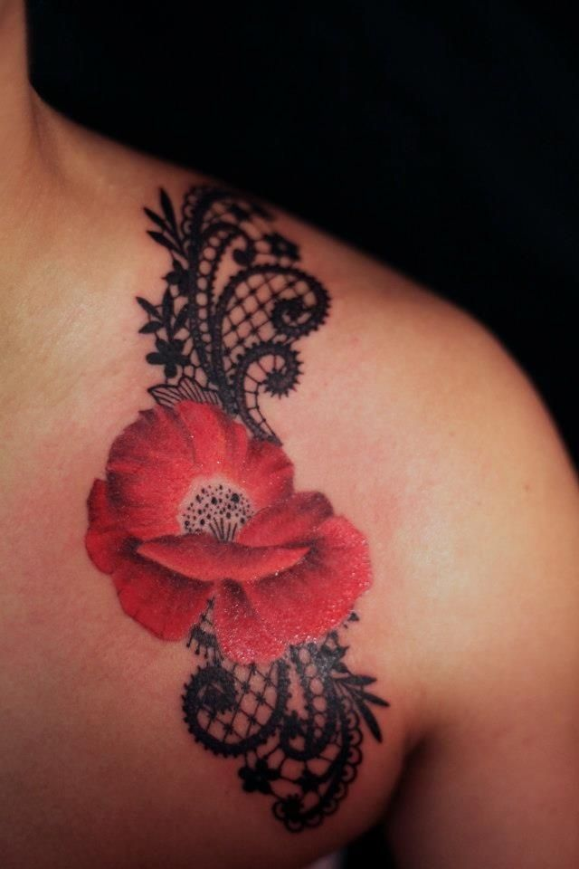 Red Poppy And Lace Black Shoulder Tattoo -