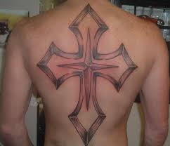 Religious red and black back cross tattoo