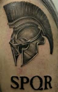 Roman style soldier tattoo on arm