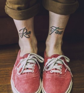 Run fast quote black tattoo with shoes