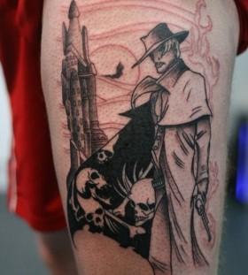 Scary men and skull tattoo on leg