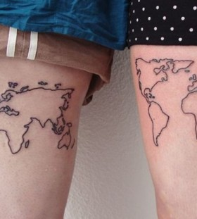Simmiliar world maps tattoo on legs