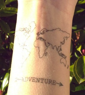 Simple lovely map tattoo on arm