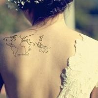 Simple lovely map tattoo on back