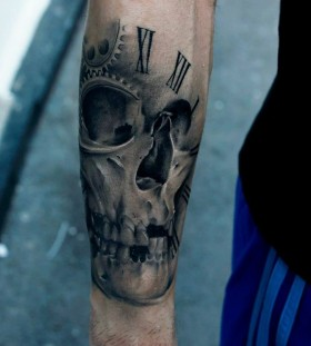 Skull and amazing number tattoo on arm