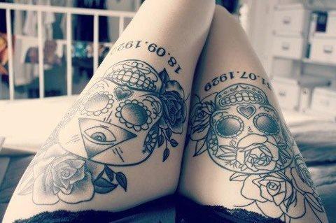 Flowers tattoos on leg