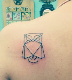 Smart owl origami tattoo on shoulder
