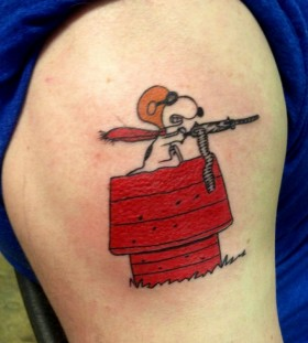 Snoopy with gun tattoo