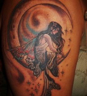 Stars and lovely moon tattoo on shoulder