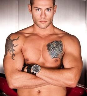 Strong men flower tattoo on chest