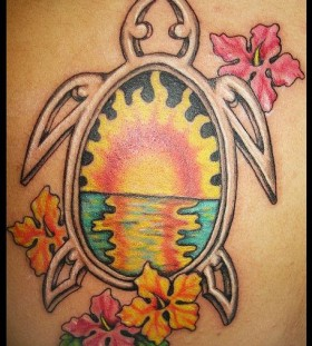 Sunset in turtle and flowers hawaiian style tattoo