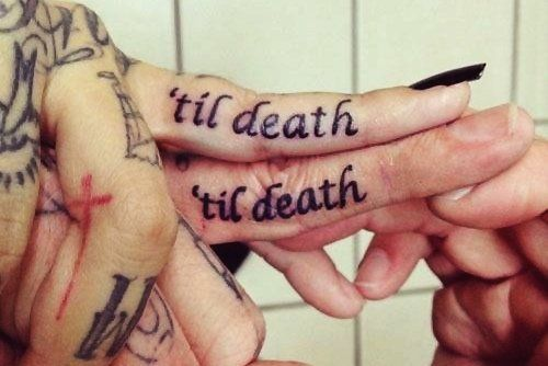 Till death couple quote tattoo on finger