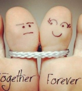 Together forever quote tattoo on finger