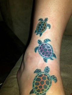 Turtles tattoo on leg