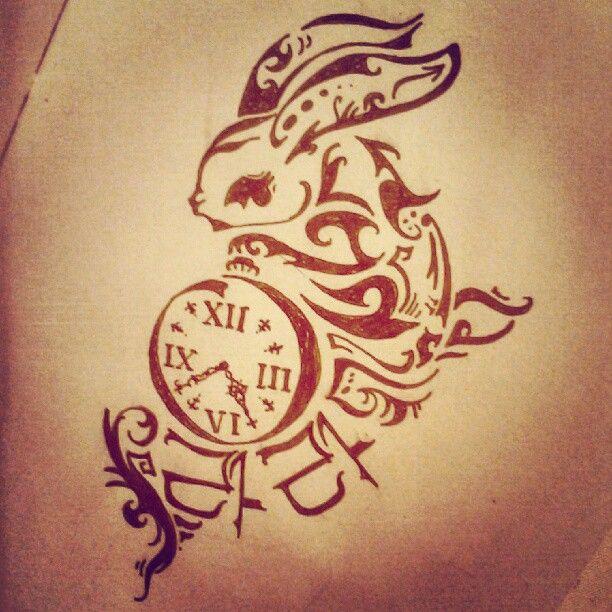 Watch and amazing black rabbit tattoo on body