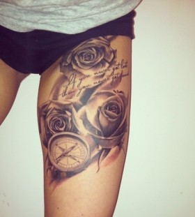 Watch, quite and rose tattoo on leg