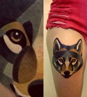 Watercolor lovely wolf tattoo on leg