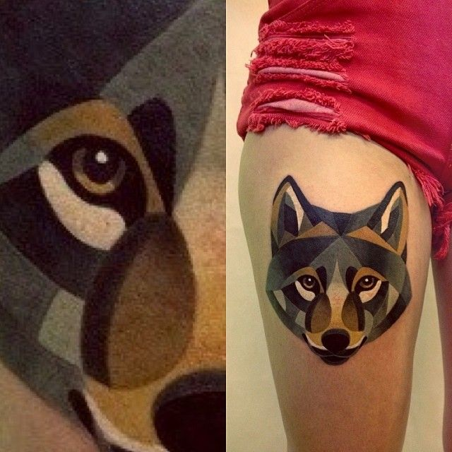 Wolfs tattoos on legs