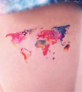 Watercolor world map tattoo on legs
