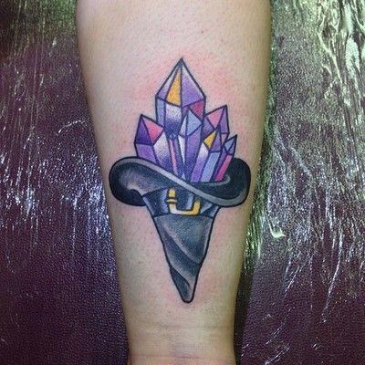 Crystals tattoos on legs