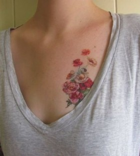Wildflowers tattoo on chest
