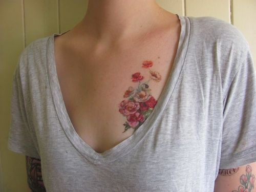 Flowers tattoos on chest