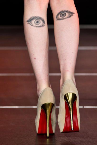 Eyes tattoos on legs