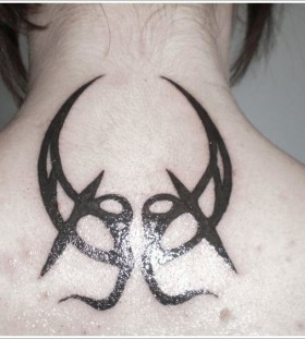 Wonderful black back moon tattoo