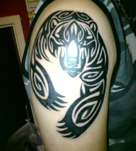 Wonderful black bear tattoo on shoulder